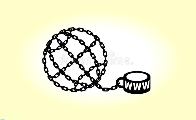 Modern metaphor, phone internet and social networks addiction icon. Stylish concept illustration isolated on light backgrou. Nd. Globe chained and shackled royalty free illustration