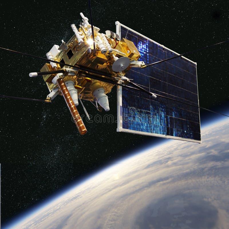 Modern meteorologisk satellit på jordens omloppsbanan vektor illustrationer