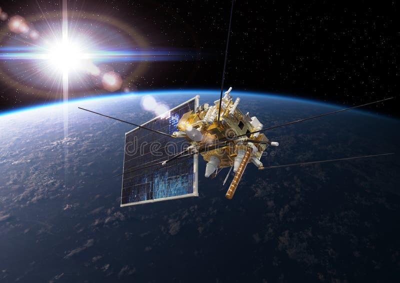 Modern meteorologisk satellit på jordens omloppsbanan royaltyfri illustrationer