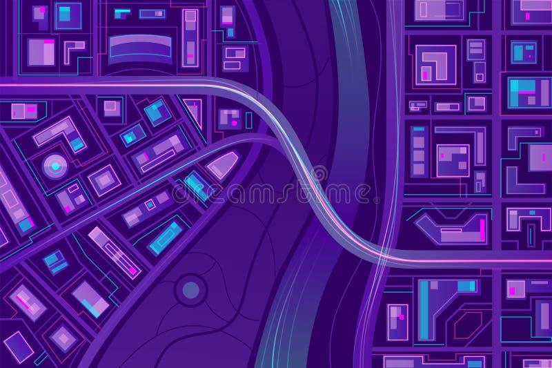 Bridge on city map flat vector background stock illustration