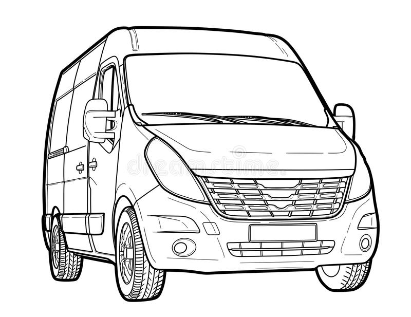 Modern Minibus Technical Draw Stock Vector - Illustration of ...