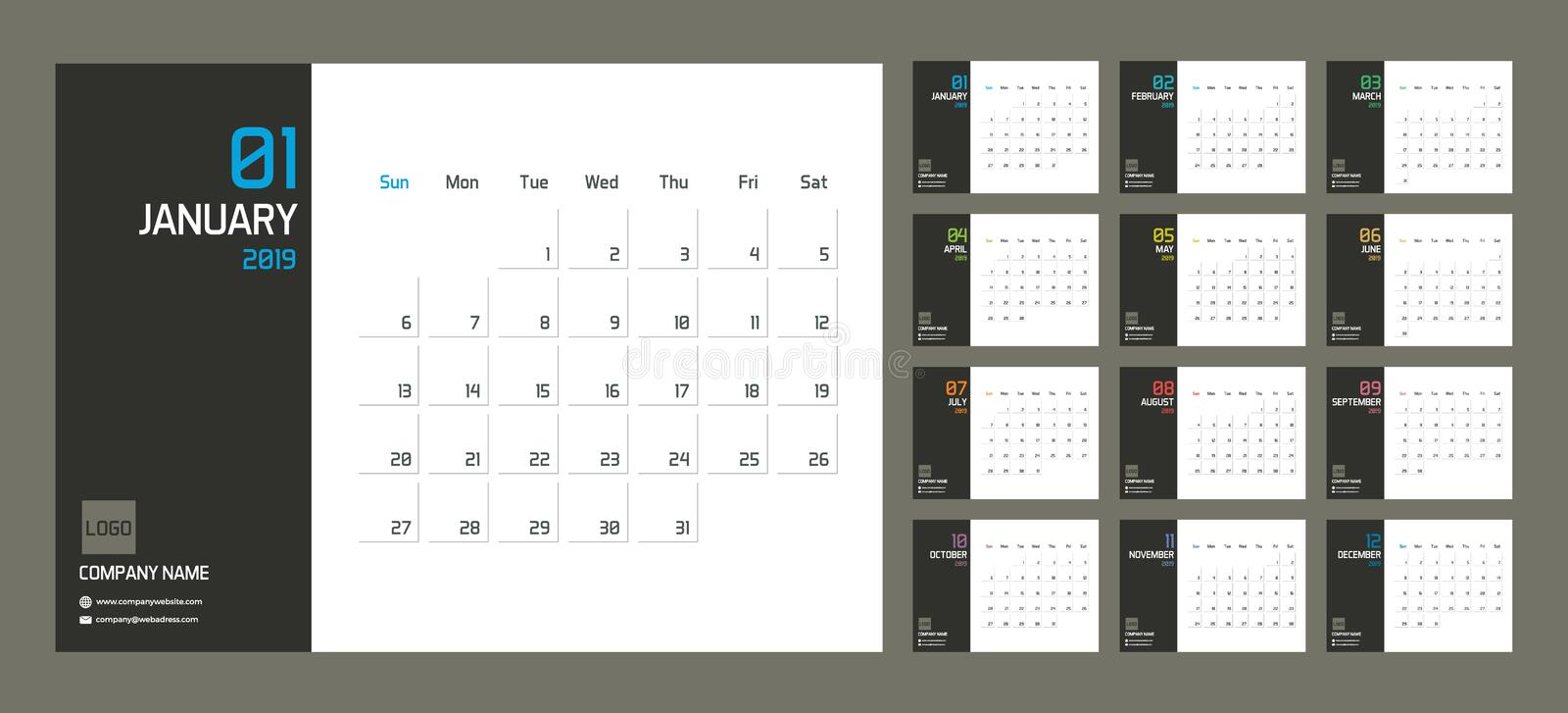Modern minimal Calendar Planner Template for 2019. Vector design editable template with set of 12 pages for the twelve months. royalty free illustration