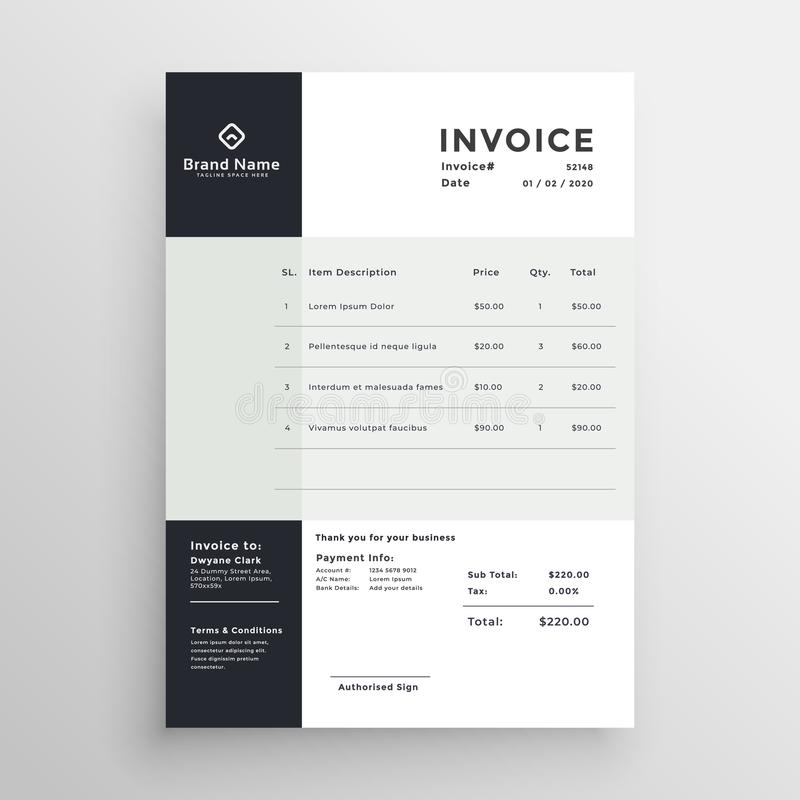 Modern minimal clean style invoice template design vector illustration