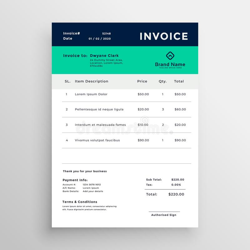 Modern minimal invoice template vector design stock illustration