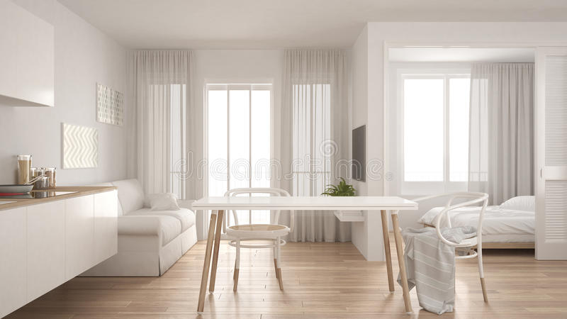 Modern minimal kitchen and living room with bedroom in the background, small apartment, white interior design royalty free illustration