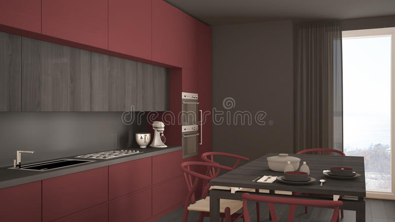 Download Modern Minimal Red Kitchen With Wooden Floor, Classic Interior D  Stock Photo   Image