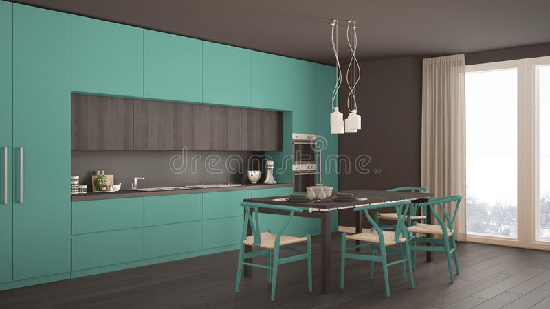 Modern minimal turquoise kitchen with wooden floor, classic interior design royalty free stock photography
