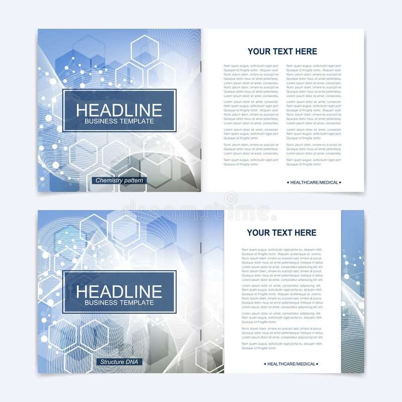 Modern minimal vector layout cover design templates for square brochure or flyer. Scientific concept for medical stock illustration
