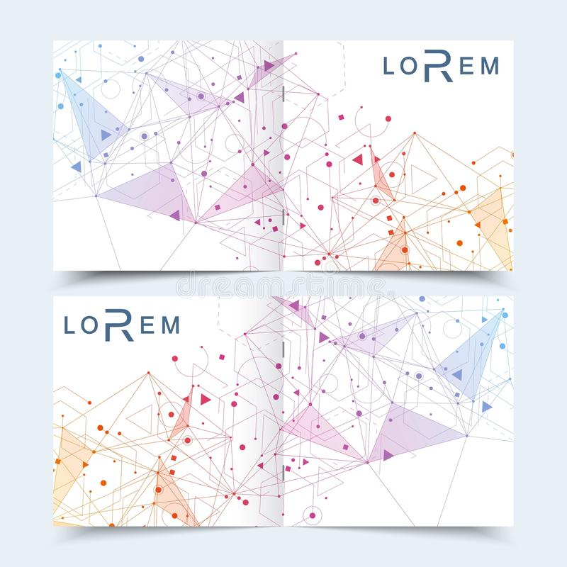 Modern minimal vector layout cover design templates for square brochure or flyer. Scientific concept for medical royalty free illustration