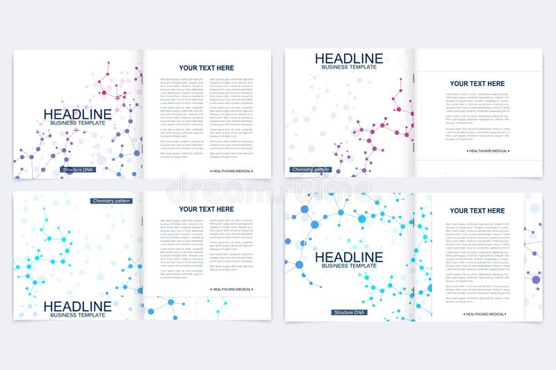 Modern minimal vector layout cover design templates for square brochure or flyer. Scientific concept for medical vector illustration