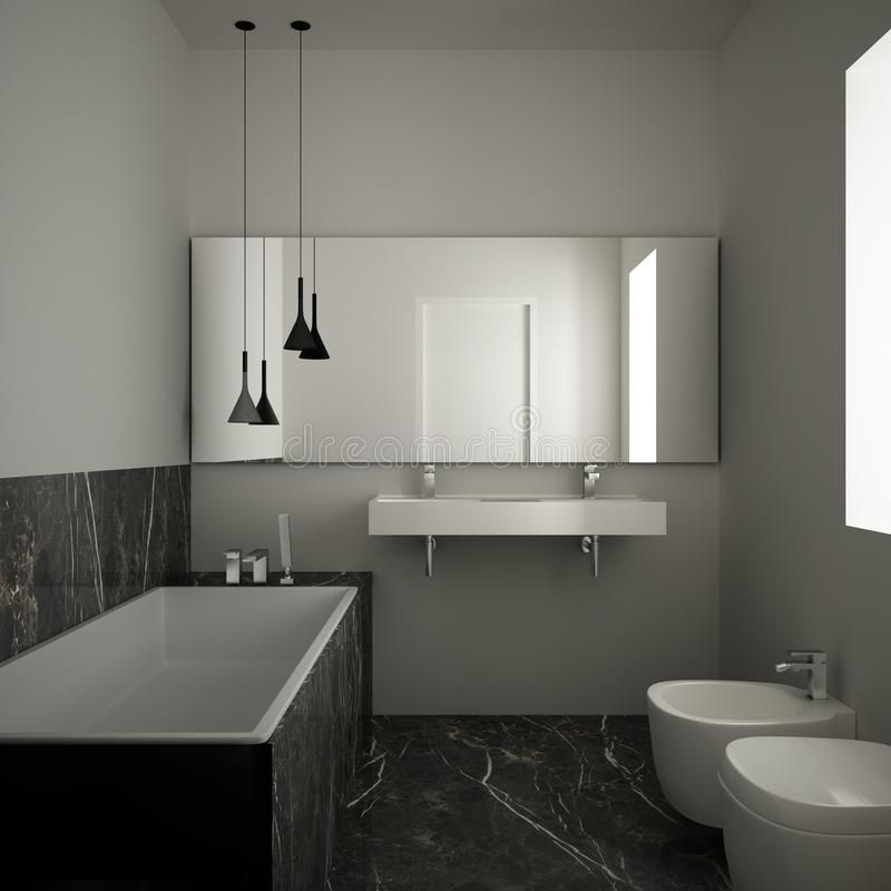Modern minimalist bathroom with dark marble floor and tiles, white bathtub and double sink, contemporary architecture interior. Design. Big mirror with pendant stock illustration