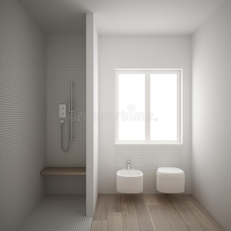 Modern minimalist bathroom with parquet oak wood floor and white mosaic tiles, window and walk-in shower, contemporary. Architecture interior design stock illustration