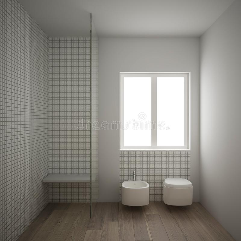 Modern minimalist bathroom with parquet oak wood floor and white mosaic tiles, window and walk-in shower, contemporary. Architecture interior design vector illustration