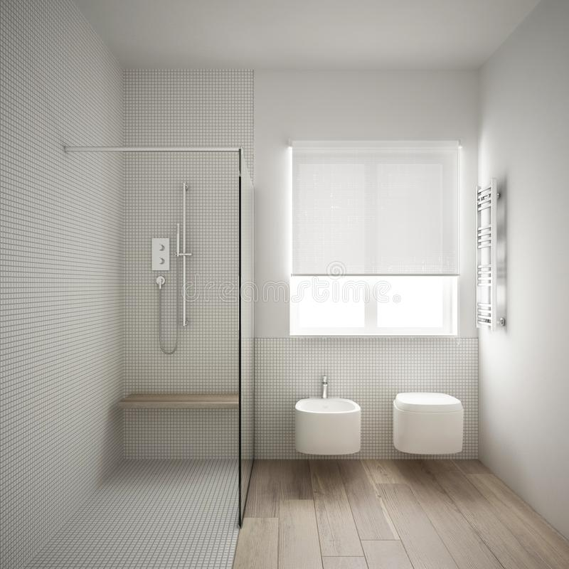 Modern minimalist bathroom with parquet oak wood floor and white mosaic tiles, window and walk-in shower, contemporary. Architecture interior design royalty free illustration