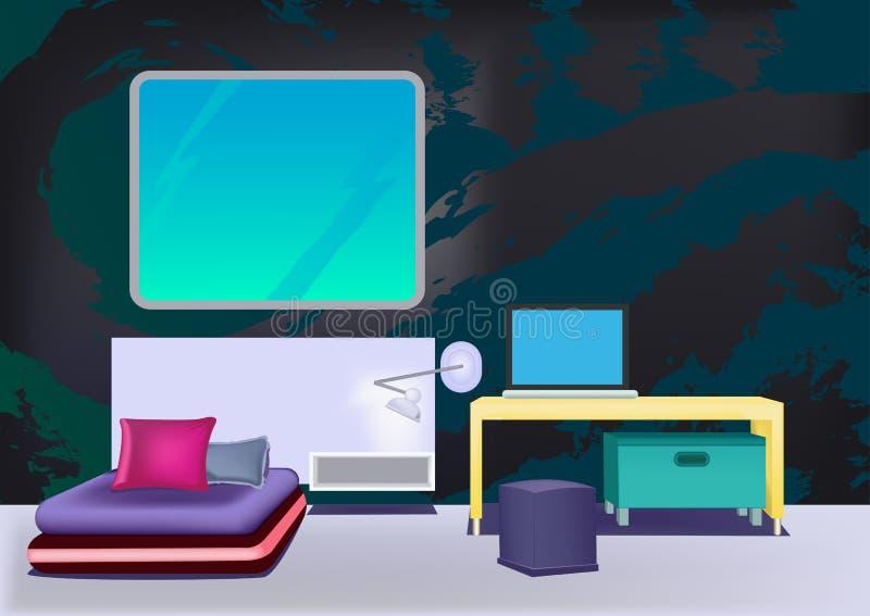 Modern minimalist bedroom_4 stock photo