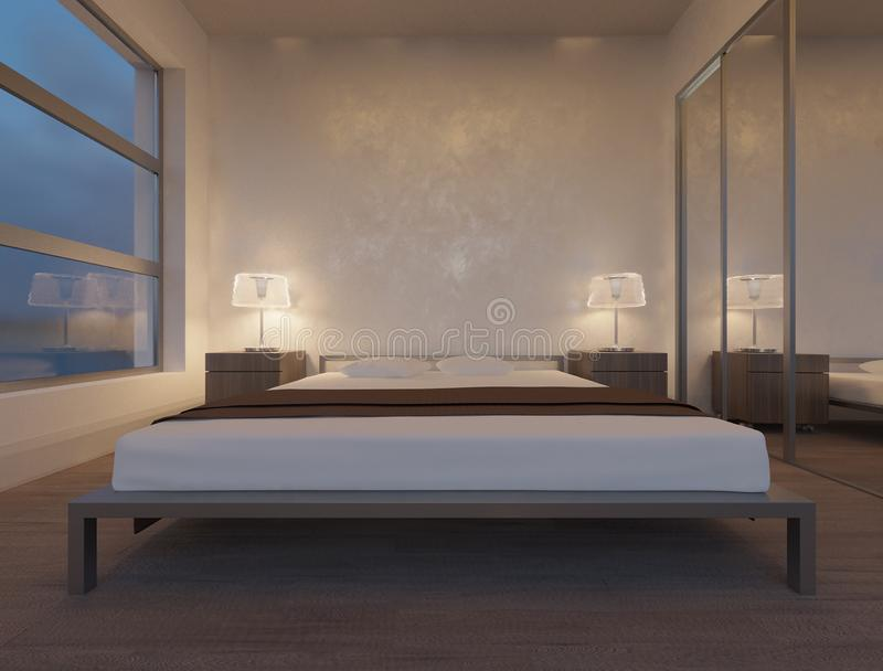 Modern minimalist bedroom wooden bed. Minimalist decoration royalty free stock photography