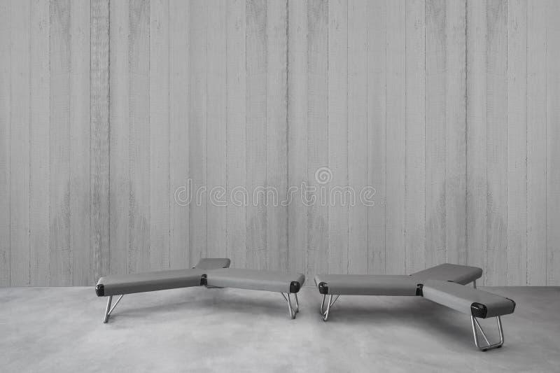 Modern minimalist interior with seat stock image
