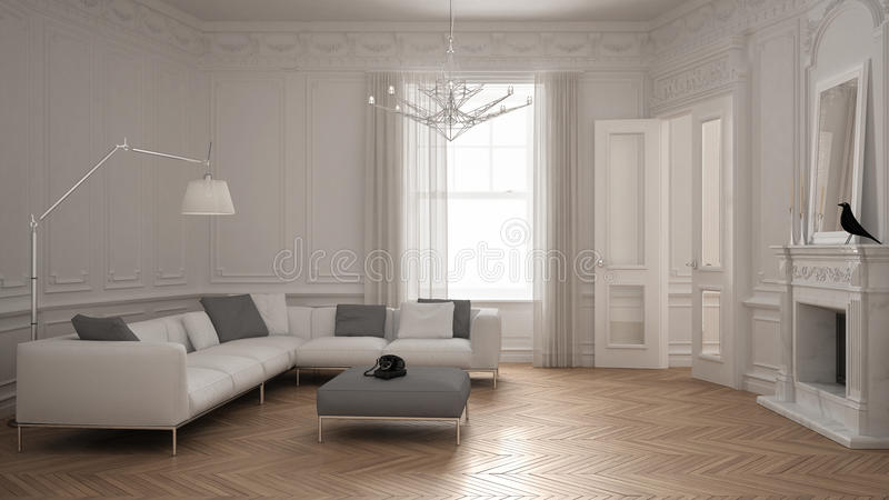 Modern minimalist sofa in classic vintage living room with fireplace, luxury white interior design vector illustration