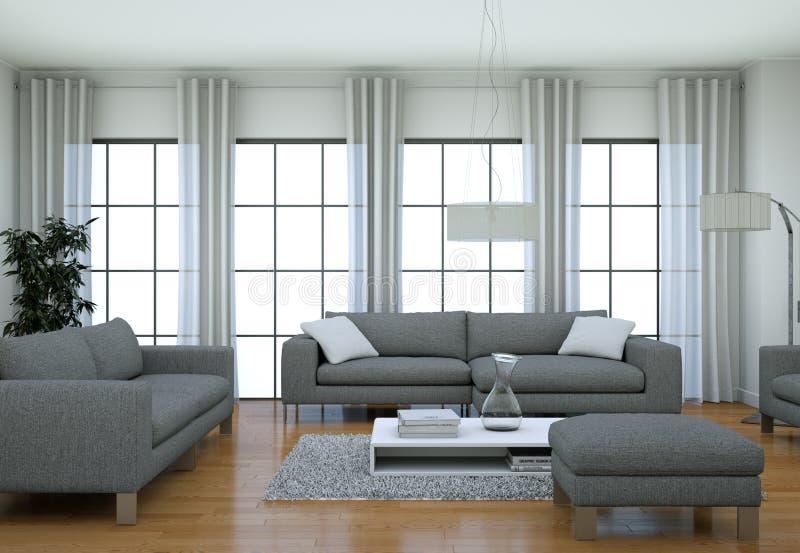 Modern minimalist vardagsruminre i vinddesignstil med soffor royaltyfria foton