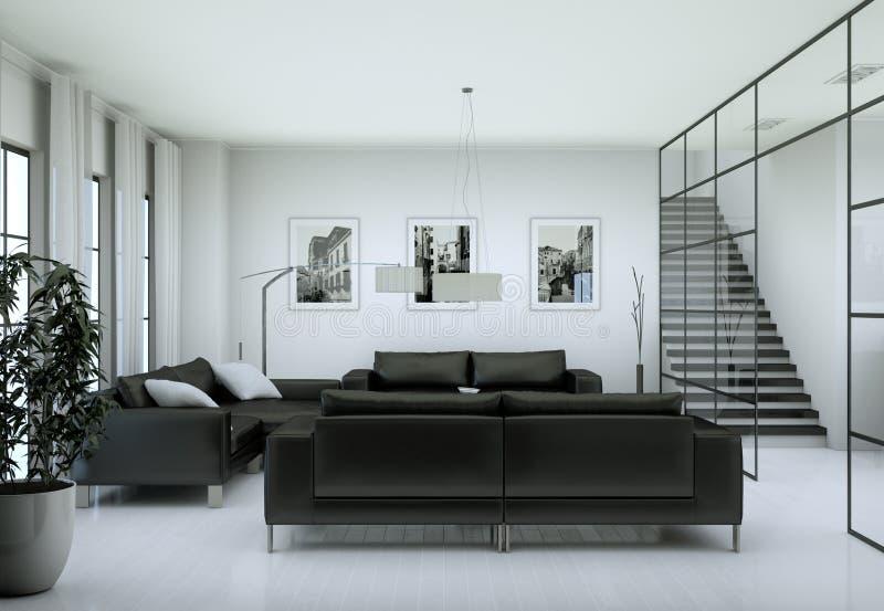 Modern minimalist vardagsruminre i vinddesignstil med soffor fotografering för bildbyråer