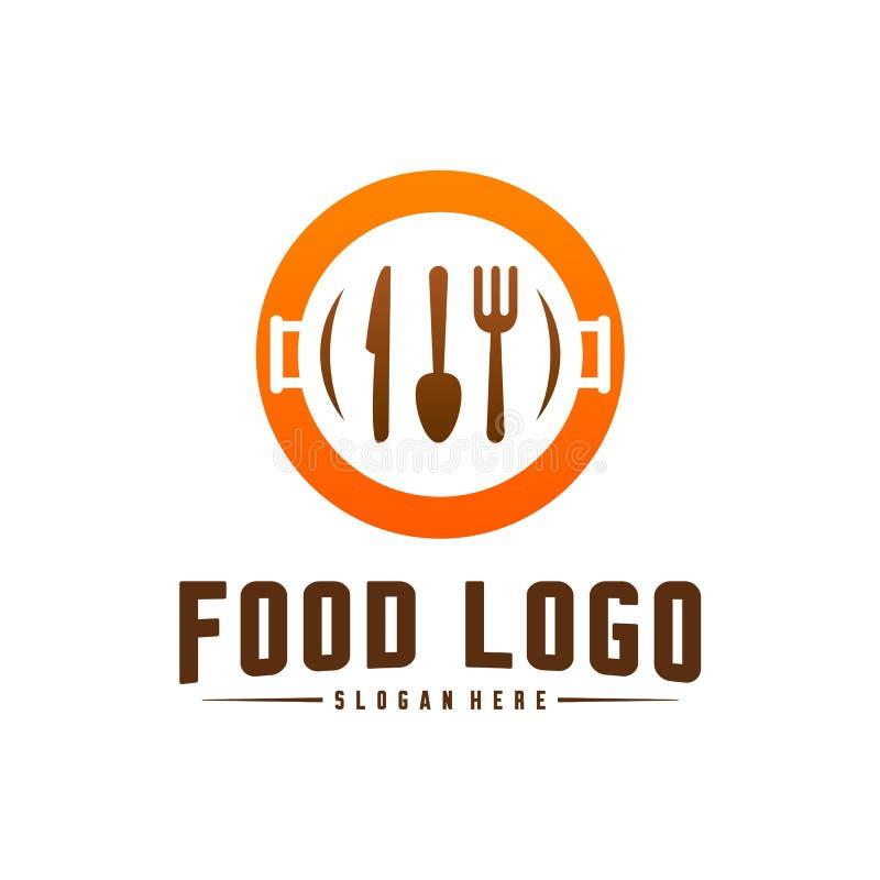 Modern minimalist vektorlogo av mat Matlagninglogomall Etikett för designmenyrestaurang eller kafé Symbolssymbol vektor illustrationer