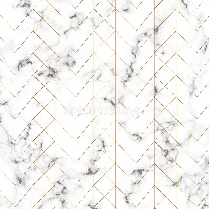 Modern minimalist vit marmortextur med guld- geometriska linjer modell Bakgrund för designbanret, kort, reklamblad, inbjudan, arkivbild