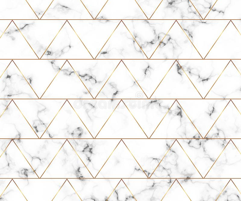 Modern minimalist white marble texture with gold geometric lines pattern. Background for designs banner, card, flyer, invitation, royalty free illustration