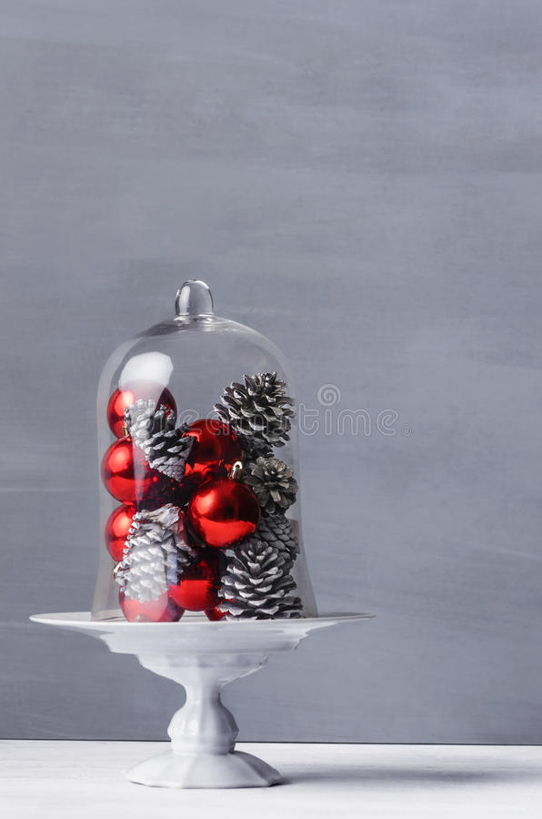 Modern Minimalistic Christmas Decoration Red Baubles Stock