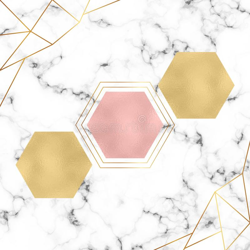 Modern minimalistic geometric design. Foil hexagons, gold triangles lines and white marble texture. Template for designs banner, c stock illustration