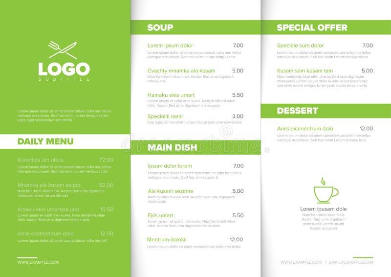 Modern minimalistic restaurant menu template royalty free stock image