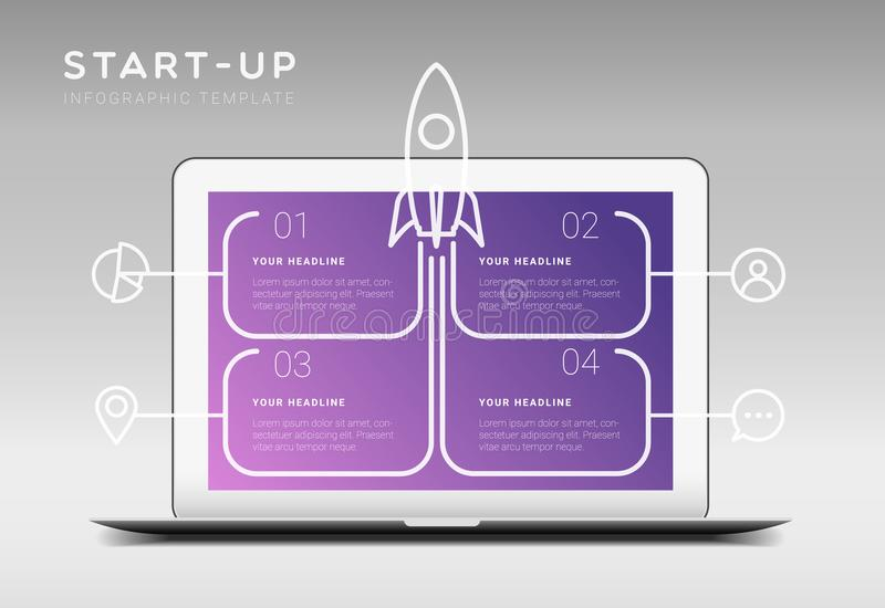 Modern minimalistic start up themed infographic template royalty free illustration