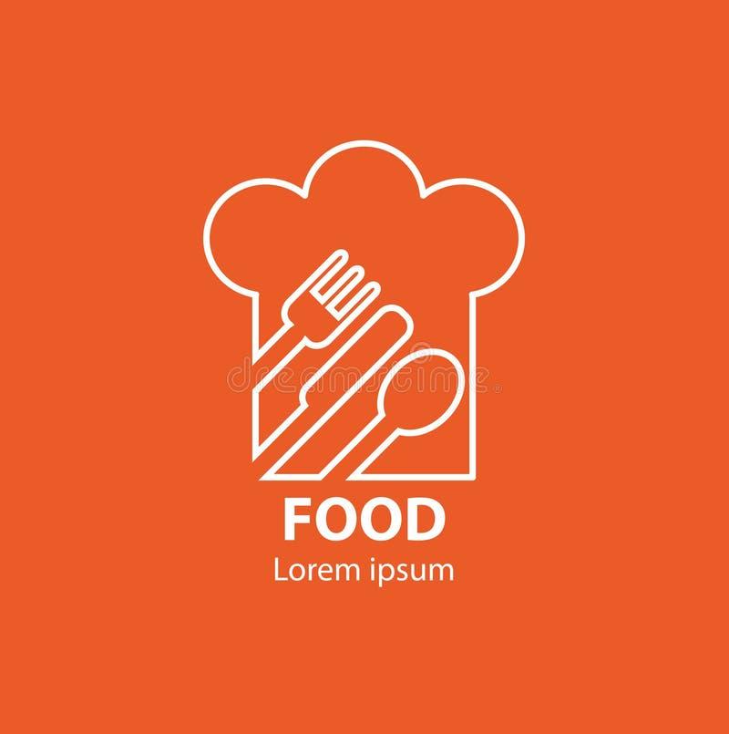Modern minimalistic voedselembleem royalty-vrije illustratie
