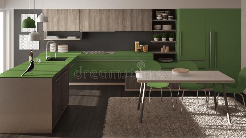 Modern minimalistic wooden kitchen with dining table, carpet and panoramic window, gray and green architecture interior. Design vector illustration