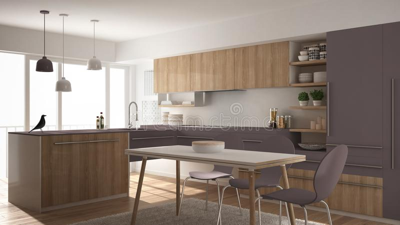 Modern minimalistic wooden kitchen with dining table, carpet and panoramic window, white and violet architecture interior designv stock illustration