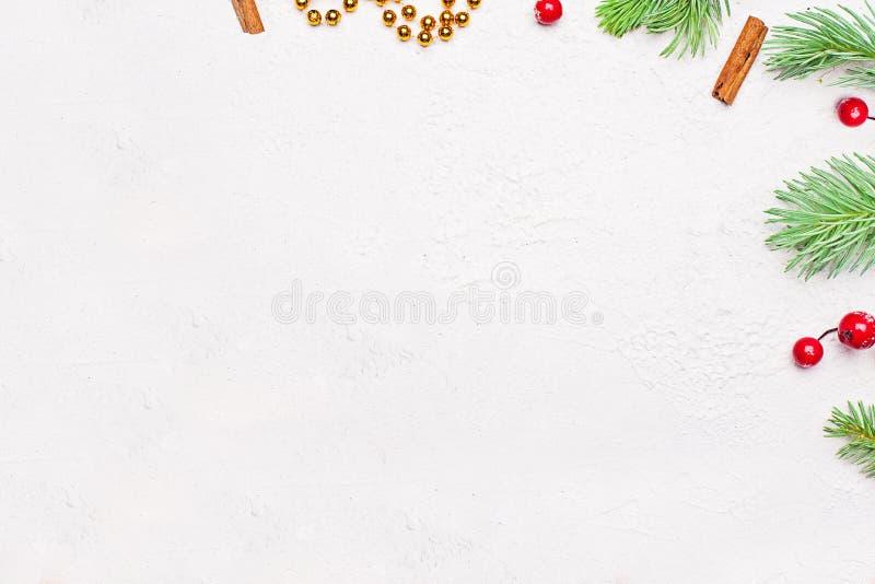 Modern minsta bakgrund för julkort Tränga någon sammansättning med den gröna Xmas-granfilialen, röda järnekbär och den guld- girl arkivbilder