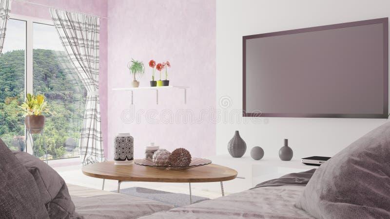 Modern minsta vardagsrum med illustrationen för härlig sikt 3D royaltyfri illustrationer