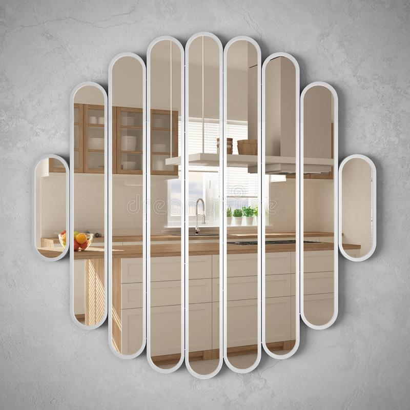 Modern mirror hanging on the wall reflecting interior design scene, bright white and wooden kitchen, minimalist white architecture vector illustration