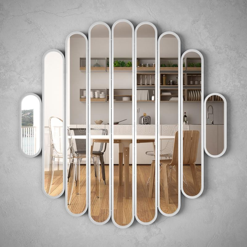Modern mirror hanging on the wall reflecting interior design scene, bright white and wooden kitchen, minimalist white architecture. Architect designer concept royalty free stock image