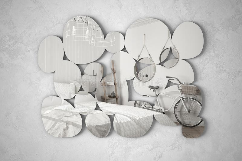 Modern mirror in the shape of pebbles hanging on the wall reflecting interior design scene, bright bedroom with bicycle, minimalis. T white architecture royalty free stock image