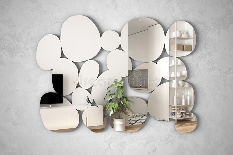 Modern mirror in the shape of pebbles hanging on the wall reflecting interior design scene, bright white and wooden living room,. Minimalist architect designer stock image