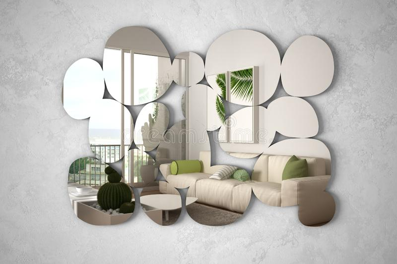 Modern mirror in the shape of pebbles hanging on the wall reflecting interior design scene, bright white and wooden living room,. Minimalist architect designer royalty free illustration