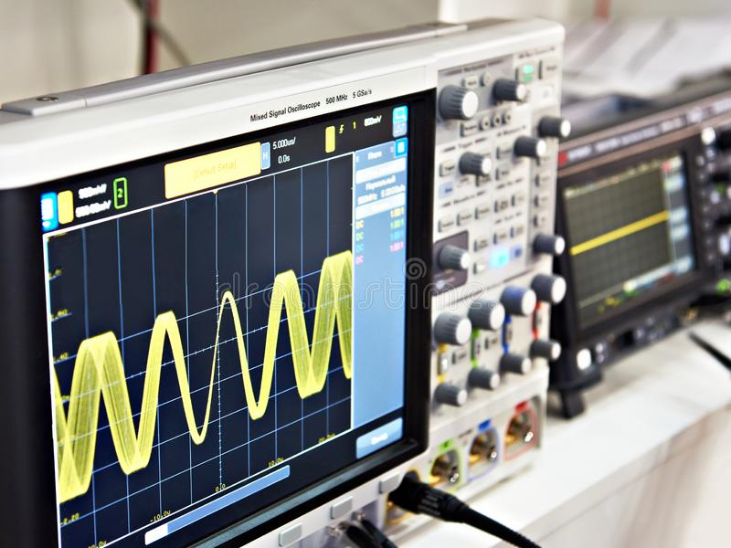 Modern mixed signal oscilloscope royalty free stock image
