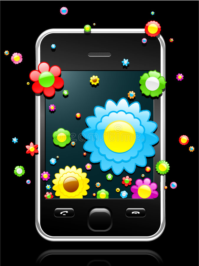 Download Modern Mobile Phone With Blossoms Coming Stock Vector - Image: 8943235