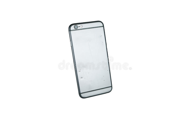 Modern mobile phone with broken back panel side isolated on white background royalty free stock photos