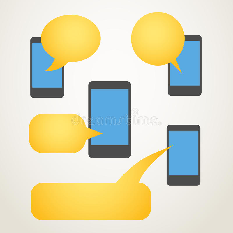 Modern mobile phone. With group of color speech clouds vector illustration