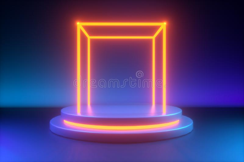 Modern mock up, empty showcase, shop display. 3d rendering. Cylinder podium with blue yellow neon light, minimalistic primitive shapes, modern mock up, empty royalty free illustration