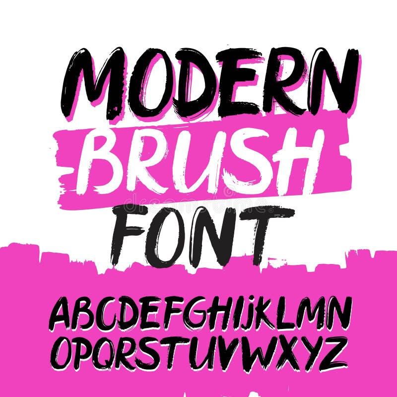Modern moderiktig hand dragit alfabet Grungestilsort vektor illustrationer