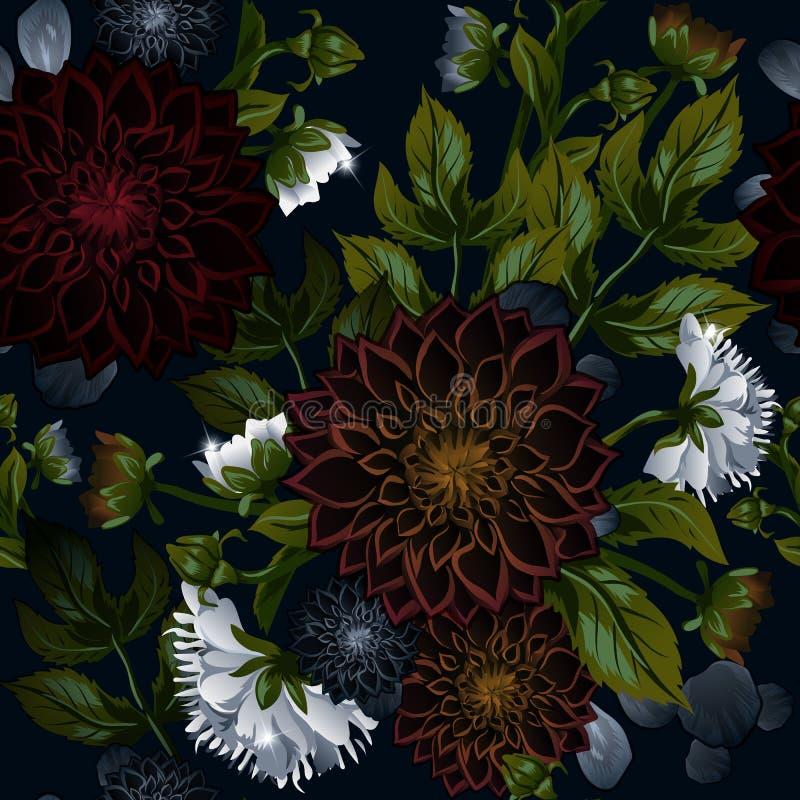 Modern moderiktig sömlös blom- modell av burgundy dahlior och vita pioner royaltyfri illustrationer