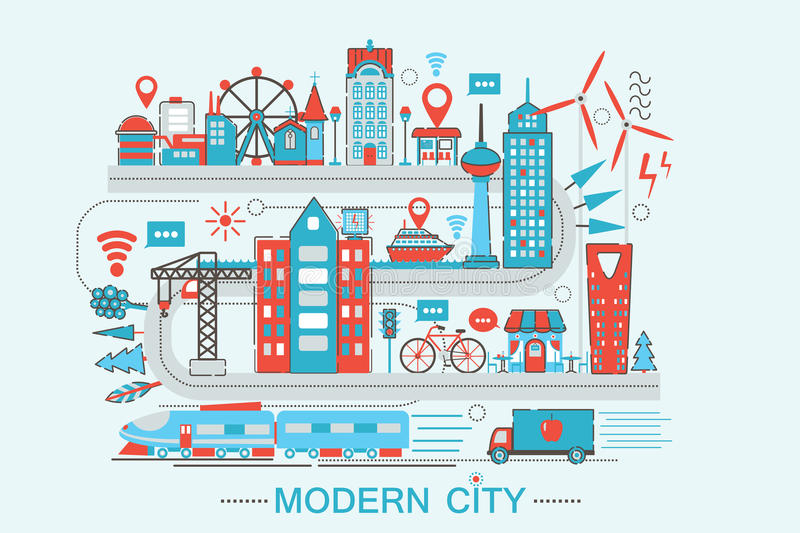 Modern Modern smart city graphic flat line design style infographics concept. Of global Network technology with icons, for website, presentation and poster stock illustration
