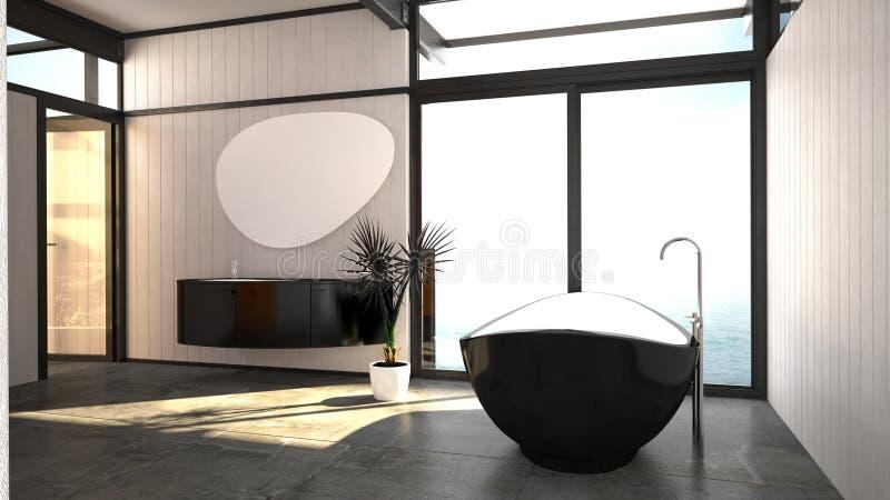 Modern modieus zwart-wit badkamersbinnenland stock illustratie